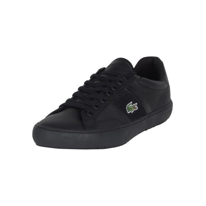 new style 6e360 def4b Baskets basses en cuir LACOSTE Baskets homme noir. Cliquez pour zoomer  Chaussures Lacoste Explorateur Sport Monochrome noire vue extérieure .